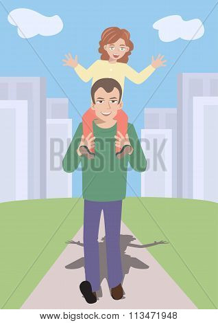 father going out to walk with daughter on shoulders