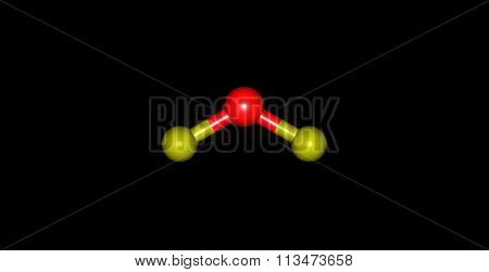 Oxygen difluoride molecular structure isolated on black