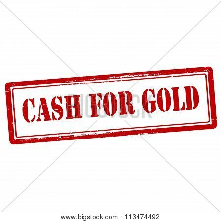 Rubber stamp with text cash for gold inside vector illustration