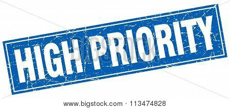 High Priority Blue Square Grunge Stamp On White