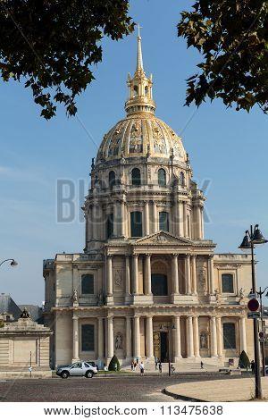 PARIS, FRANCE - SEPTEMBER 7, 2014: View of Dome des Invalides burial site of Napoleon Bonaparte Paris France