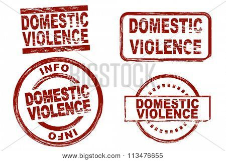 Set of stylized ink stamps showing the term domestic violence.