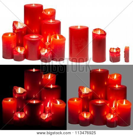 Candles Light Group, Red Candles Lights Set, Isolated On White Black Background, Clipping Path