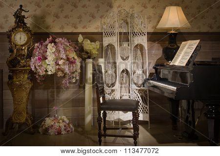 Vintage Interior With Piano