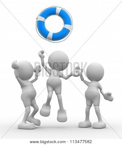3d people - men person is fighting for a life buoy