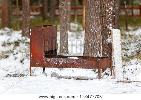 Huge Steel Welded Brazier On Snow In Forest