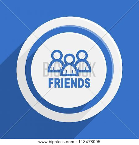 friends blue flat design modern vector icon for web and mobile app