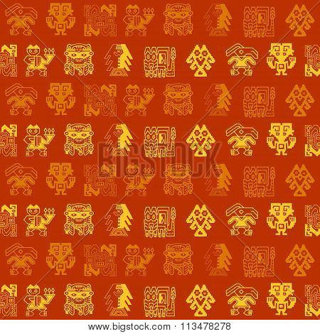 Seamless pattern with Peruvian Indians art and ethnic ornaments
