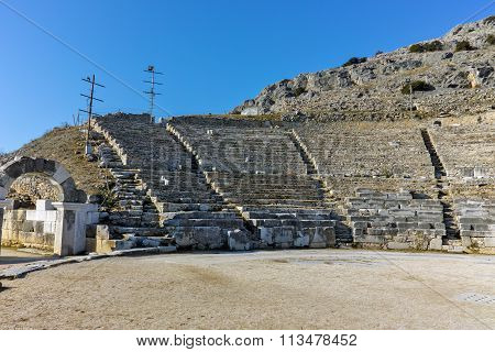 Ruins of Ancient amphitheater in the archeological area of Philippi, Eastern Macedonia and Thrace