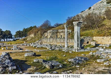 Ancient columns in the archeological area of Philippi, Eastern Macedonia and Thrace
