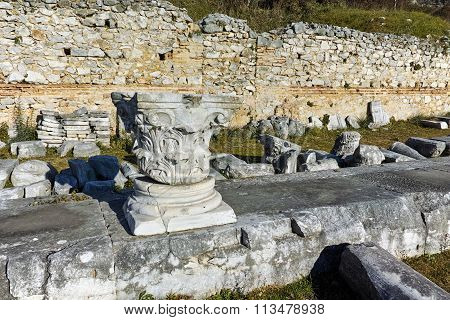 Ruins in the archeological area of Philippi, Eastern Macedonia and Thrace