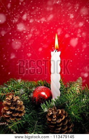 Christmas Candle And Fir Branches