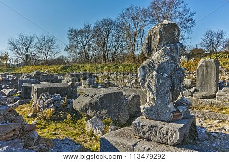 Ancient Statue in archeological area of Philippi, Eastern Macedonia and Thrace