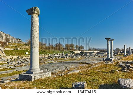 Columns in the archeological area of ancient Philippi, Eastern Macedonia and Thrace