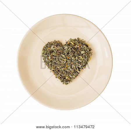 Heart Of Loose Tea On The Plate, Valentine's Day, Isolated