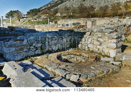 Ruins in the archeological area of ancient Philippi, Eastern Macedonia and Thrace
