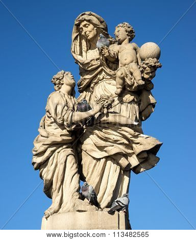 Old Baroque Statue Of St Anne On The Charles' Bridge