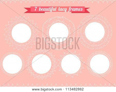 Set with different round frames. Lacy, romantic.  For your design, wedding announcements, greeting cards, valentine day posters.