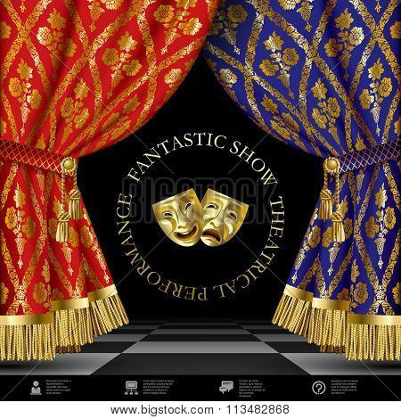 Theatrical template with blue and red vintage ornamental curtains, gold masks on black background and web icons