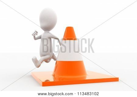 3D Man Jumping Over Traffic Cone Concept