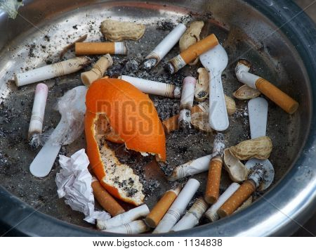 Cigarette Butts Peanut Shells And Orange Peel