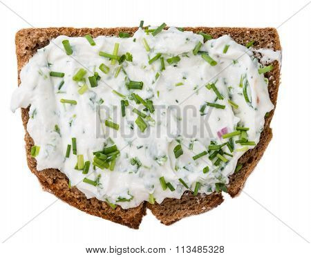Slice Of Bread With Herb Curd On White