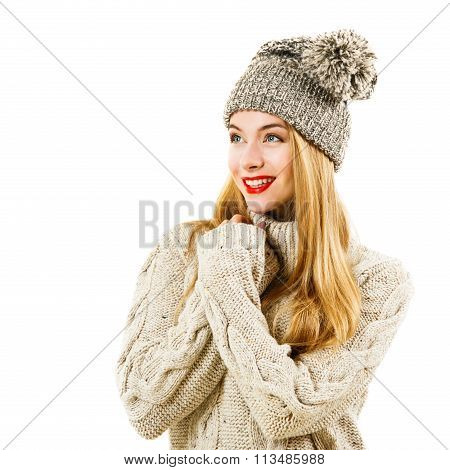 Happy Woman in Winter Sweater and Hat