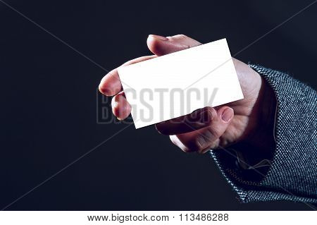 Woman's hand holding white business card