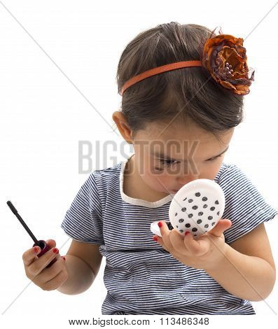 Fashion Little Girl Applying Make Up