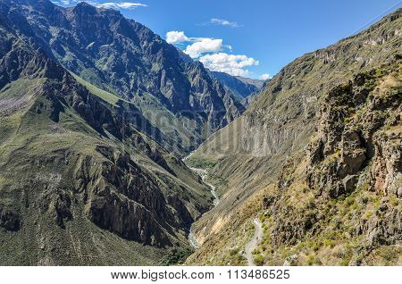 River On The Bottom Of Colca Canyon In Peru