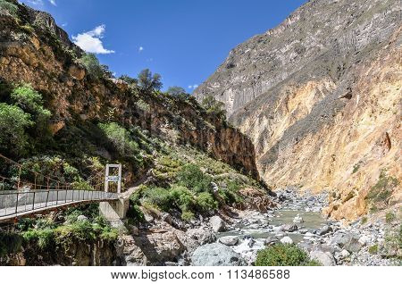 Bridge At The Bottom Of Colca Canyon In Peru