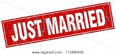 Just Married Red Square Grunge Stamp On White
