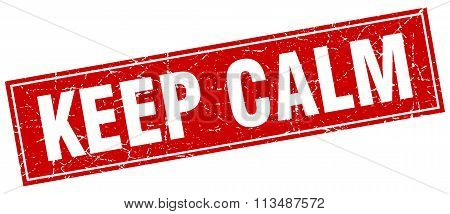 Keep Calm Red Square Grunge Stamp On White