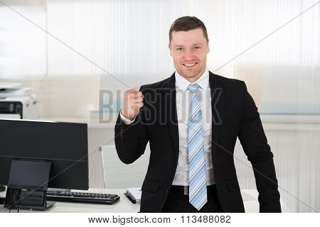 Successful Businessman Clenching Fist In Office