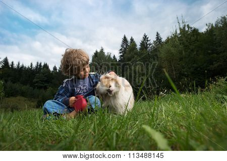 Little Boy With His Best Friend