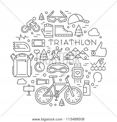 Line Triathlon Logo And Icons. Vector Sport Label And Badge For