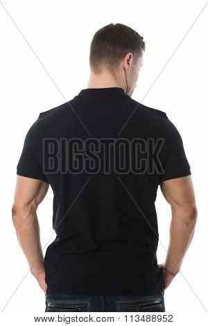 Rear View Of Man In Black Tshirt On White Background