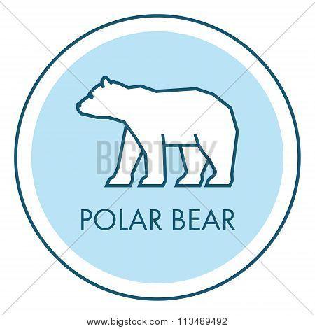 Vector Line Icon Polar Bear. Isolated Flat Symbol
