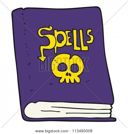 freehand drawn cartoon spell book
