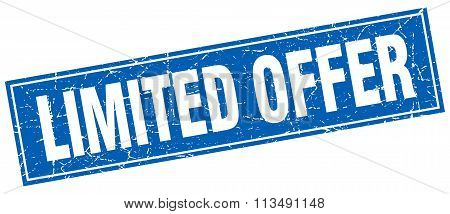 Limited Offer Blue Square Grunge Stamp On White
