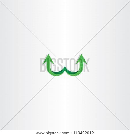 Green Arrow Letter W Logo Sign