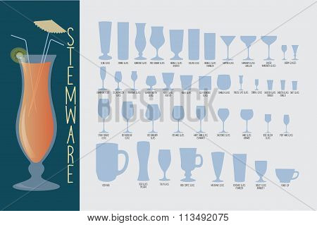 Stemware, type of glasses