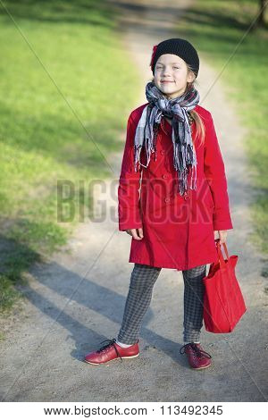 Fashion Girl On Pathway