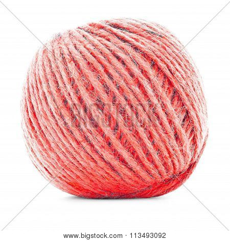 Red Wool Clew, Knitting Yarn Roll Isolated On White Background