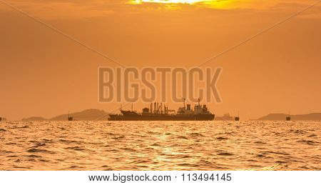 Silhouette Of Oil Exploration Vessel
