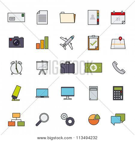 Business Basic Filled Line Icon Vector Set 1. Collection of 25 business and office related filled line icons