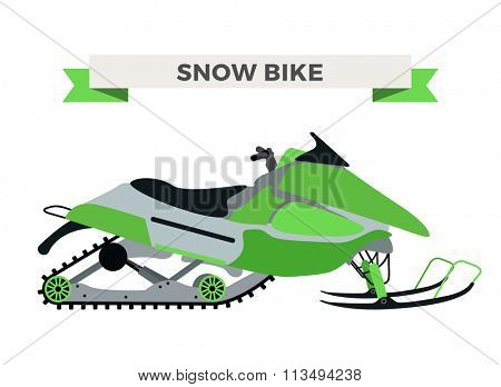 Vector winter snow motorcycle illustration. Snowmobile isolated on white background. Winter bike, snow ski bike vector. Motorcycle winter bike illustration. Snow bike
