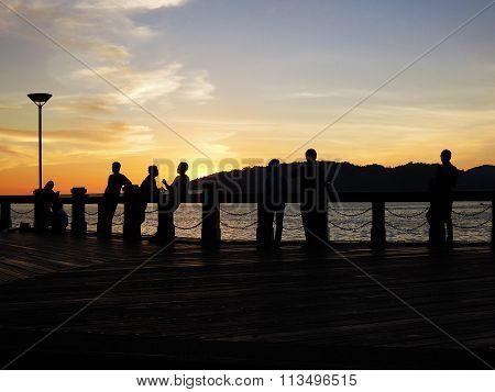 Local people enjoying sunset