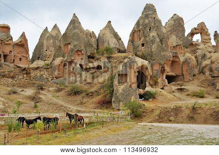 Stones in a honeycomb form in Cappadocia