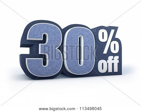 30 Percent Off Denim Styled Discount Price Sign